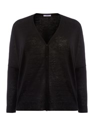 Persona Plus Size Long Sleeved Button Down Cardigan Black
