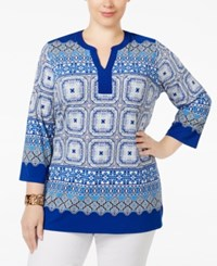 Charter Club Plus Size Scarf Print Tunic Only At Macy's Modern Blue