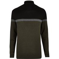 River Island Mens Dark Green Colour Block Roll Neck Jumper