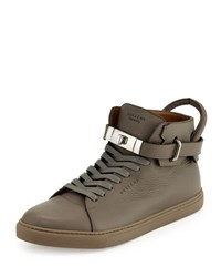 Buscemi 100Mm Leather High Top Sneaker Gray