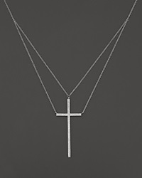 Bloomingdale's Diamond Cross Pendant Necklace In 14K White Gold .30 Ct. T.W.