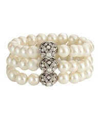 Carolee 3 Row Stretch Faux Pearl Bracelet White