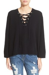 The Kooples Women's Lace Up Wool And Cashmere Sweater Black