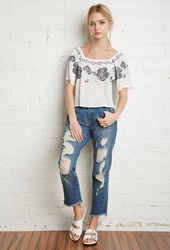Forever 21 Embroidered Peasant Blouse Cream Navy