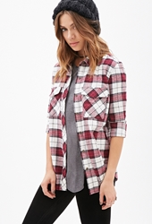 Forever 21 Plaid Flannel Shirt Red White