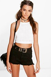Boohoo Crochet Trim Tie Back Knitted Halter Top Cream