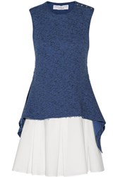 Derek Lam 10 Crosby By Cutout Cotton Terry And Poplin Sweater And Mini Dress Set Storm Blue