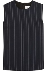 Victoria Beckham Pinstriped Wool Blend And Crepe Top Midnight Blue