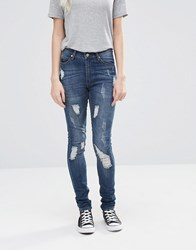 Cheap Monday Second Skin Skinny Jeans 32 Carbon Torn 32 Blue