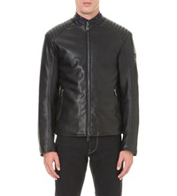 Armani Jeans Quilted Faux Leather Jacket Black