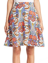 Aquilano Rimondi Floral Print Silk Skirt Multicolor