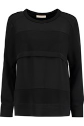 Iro Abele Paneled Silk And Stretch Jersey Sweatshirt Black