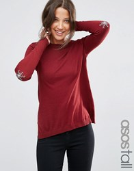 Asos Tall Jumper With Christmas Snowflake Elbow Patch Dark Red