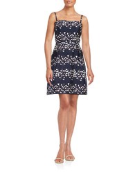 Vera Wang Strapless Floral Dress Navy Aqua Coral