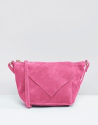 Asos Suede Festival Cross Body Bag With V Flap Pink
