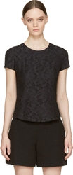 Nina Ricci Black Lace Short Sleeve Zip Up Blouse