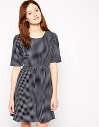 Vero Moda 3 4 Sleeve Checked Skater Dress Blackirissnow