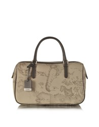 Alviero Martini 1A Prima Classe Geo Printed Medium 'New Basic' Satchel Bag Grey