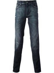 Dolce And Gabbana Red Side Stripe Skinny Jeans Blue