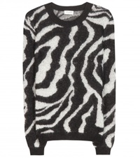 Saint Laurent Zebra Print Mohair Blend Sweater No