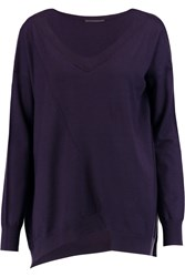 Donna Karan Asymmetric Cashmere Blend Sweater Purple