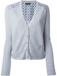 Joseph Contrast Back Cardigan Grey