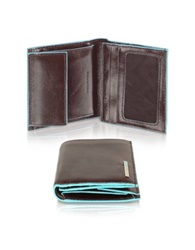 Piquadro Blue Square Men's Leather Id Wallet Dark Brown