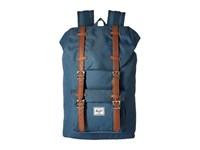 Herschel Little America Mid Volume Indian Teal Tan Synthetic Leather Backpack Bags Blue