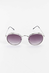 Urban Outfitters Smoke Flip Lens Round Sunglasses Silver