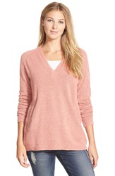 Nic Zoe 'In My Pocket' V Neck Sweater Peach Splash