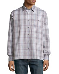 Ike Behar Check Sport Shirt Gray Beige