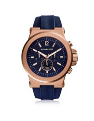 Michael Kors Dylan Rose Gold Tone Stainless Steel Case And Blue Silicone Strap Men's Crono Watch