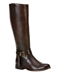 Frye Melissa Leather Knee High Boots Dark Brown