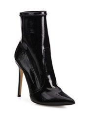 Schutz Brunny Patent Leather Point Toe Booties Black