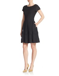 Taylor Mesh Panel Fit And Flare Dress Black