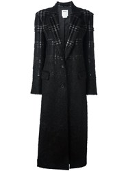 Dkny Long Checked Coat Black