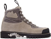 Off White Grey Suede And Velvet Trimmed Hiking Boots
