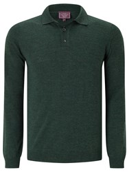 John Lewis Made In Italy Merino Long Sleeve Polo Shirt Dark Green