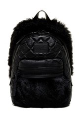 Marc By Marc Jacobs Gomez Leather And Genuine Lamb Fur Backpack Black