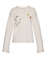 J.W.Anderson Bow Embellished Ribbed Knit Sweater Ivory