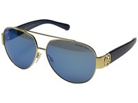 Michael Kors Tabitha Ii Gold Blue Glitter Blue Mirror Fashion Sunglasses