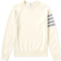Thom Browne Arm Stripe Cashmere Crew Sweat Neutrals