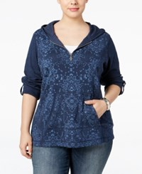 Styleandco. Style Co. Plus Size Printed Half Zip Hoodie Only At Macy's Industrial Blue