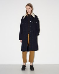 Maison Martin Margiela Shearling Collar Denim Jacket Indigo