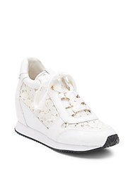 Ash Dream Lace And Croc Embossed Leather Wedge Sneakers White