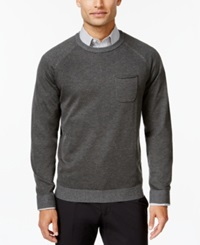 Ryan Seacrest Distinction Pocket Crew Neck Sweater Only At Macy's Dark Charcoal Heather