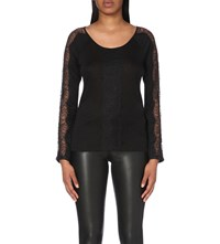Claudie Pierlot Tzarine Lace Detail Jersey Top Noir
