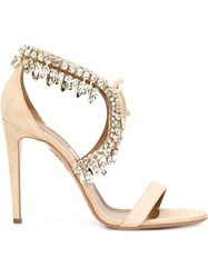 Aquazzura 'Milla Jewel 105' Sandals Nude And Neutrals