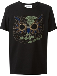 Jimi Roos 'Owl' Embroidered T Shirt Black