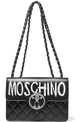 Moschino Printed Quilted Leather Shoulder Bag Black